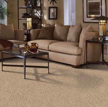 Living room scene with tan Alexander Smith carpet